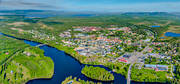 aerial photo, aerial pictures, drone aerial, Herjedalen, Ljusnan, Mankell Bridge, railway bridge, samhällen, summer, Sveg