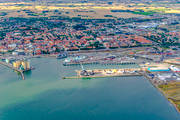 aerial photo, aerial pictures, drone aerial, fishing port, port, samhällen, Skåne, small-boat harbour, summer, Ystad