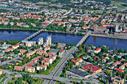 aerial photos, aerial picture, aerial pictures, autumn, city, community, flygbilder, städer, Ume river, Umeå, West Bothnia