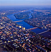 aerial photos, aerial picture, aerial pictures, bridges, city, flygbilder, städer, Sweden, Ume river, Umeå, West Bothnia