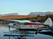 Abisko, aeroplane, aviation, communications, evening, fly, Lapporten, seaplane, seaplane, Super Cub