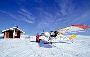 aeroplane, aviation, communications, cottage, fly, mountains, ski flight, skies, ultra-light, winter flying