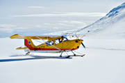 aeroplane, aviation, Bellanca, Citabria, communications, fly, mountain flight, mountains, ski flight, sports flights, sports plane, taxar, touch down, winter flying