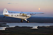 aeroplane, aviation, communications, Cub, fly, freedom, full moon, general aviation, longing, moonlight, piper cub, se-xlm, sports flights