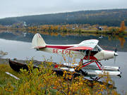 aeroplane, Ammarnas, autumn, aviation, communications, fly, seaplane, seaplane, Super Cub, Vindel river