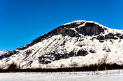 Ahkabakte, alpine precipice, landscapes, Lapland, mountain slope, Sitojaure, winter