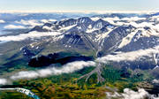 aerial photo, aerial pictures, Akka, Akka massif, Akkavare, alluvialkon, cloud-tufts, drone aerial, fjällbilder, Great Lakes waterfalls, landscapes, Lapland, mountain range, national park, pits of dead ice, summer, svämkägla, swedish mountains, Vuojatätno