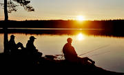 angling, angling, fishing, Landom lake, summer, sunset