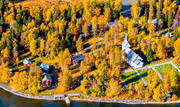 aerial photos, aerial picture, aerial pictures, Ankarede, autumn, begravningsplats, buildings, cemetery, chapel, church, churches, fjällbilder, flygbilder, Great Blue lake, installations, Jamtland, kyrkstugor, Lejarälven, saami, swedish mountains, träkåtor