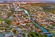 aerial photo, aerial pictures, Arboga, Arbogaån, drone aerial, evening light, städer, summer, Västmanland