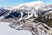 aerial photo, aerial pictures, alluvialkon, Are, Areskutan, drone aerial, Jamtland, Mörviksravinen, rasmassor, samhällen, svämkägla, swedish mountains, winter