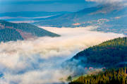Are valley, cloud, fog, Jamtland, landscapes, nature, summer, view