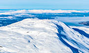 aerial photo, aerial pictures, Areskutan, Cold lake, drone aerial, flygfoton, Jamtland, landscapes, mast, mountain top, Skackerfjallen, top, top cottage, top summit, winter