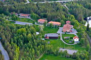 aerial photo, aerial photo, aerial photos, aerial photos, backedal, buildings, drone aerial, drönarfoto, farms, folk school, folk high-school, Herjedalen, installations, summer