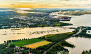 aerial photo, Bergvikssundet, bridges, broarna, drone aerial, landscapes, morning, morning light, morning sun, North Bothnia, Pitea, samhällen, summer