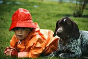 boy, dog, friends, outdoor life, pal, play, play, plays, rain, rainy weather, summer, wild-life, äventyr