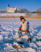 angling, boy, children, church, churches, fishing, ice fishing, ice fishing, perch, perch fishing, Revsund, Revsund lake, winter, winter fishing