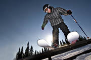 backlight, blue sky, boy, children, down-hill running, jibb, jibbing, jump, offpist, playtime, rail, rail, skier, skies, skiing, sport, sun, winter