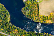 aerial photos, aerial picture, aerial pictures, are river, autumn, Brattlandsströmmen, fishing spots, flygbilder, Jamtland, watercourse
