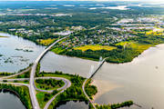 aerial photo, aerial photo, aerial photos, avfart, Bergsvikssundet, bridge, bridges, cable bridge, suspender bridge, cykelbro, cykelbron, Degeränget, drone aerial, E4 highway, Killingholmen, landscapes, North Bothnia, Pitea, påfart, samhällen, summer