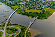 aerial photo, aerial photo, aerial photos, aerial photos, avfart, Bergsvikssundet, bridge, bridges, cable bridge, suspender bridge, cykelbro, cykelbron, Degeränget, drone aerial, drönarfoto, E4 highway, Killingholmen, landscapes, North Bothnia, Pitea, påfart, samhällen, summer