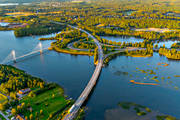 aerial photos, aerial picture, aerial pictures, Bergsviken, Bergsvikensundet, bridge, bridges, cable bridge, suspender bridge, flygbilder, Killingholmen, landscapes, North Bothnia, Pitea, samhällen, Storfors, städer, summer, Öholmabron