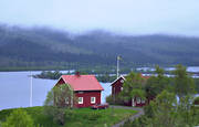 Are, Are lake, cabins, cottage, farm, fog, house, Jamtland, landscapes, red-painted, summer