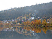 Ammarnas, autumn, cabins, fog, grey day, habitation, landscapes, Lapland, Vindel river