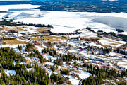 aerial photos, aerial picture, aerial pictures, church, churches, cold, Cold lake, flygbilder, Jamtland, samhällen, spring