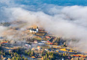 aerial photos, aerial picture, aerial pictures, church, churches, cold, Cold lake, flygbilder, fog, Jamtland, samhällen, spring