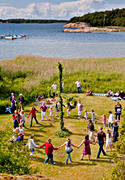 Bohuslän, coast, culture, dance, game, landscapes, midsommardans, midsommarstång, midsummer, present time, sea, seasons, summer