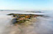 aerial photo, aerial pictures, dimman, drone aerial, easies, fog, Jamtland, Kaxas, landscapes, morning, Offerdal, Sater, spring, villages