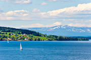 early, Genvalla, Great Lake, Jamtland, landscapes, mountain, Oviksfjallen, sailing boats, seglats, snowy patches, summer