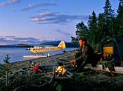 aviation, camp, camping, coffeemaking, communications, evening, flight, fly, Jav lake, outback life, pilot, Piper Cub, seaplane, seaplane, small cub, tent camp, tenting, wild-life, äventyr