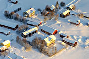 aerial photo, aerial pictures, drone aerial, farms, Haxäng, Jamtland, mid-winter, winter