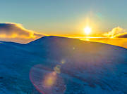 aerial photo, aerial photos, atmosphere, backlight, Drommen, drone aerial, Jamtland, landscapes, mountain, season, seasons, sun, sunset, winter