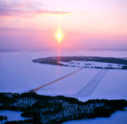 aerial photo, aerial photo, aerial photos, aerial photos, drone aerial, drönarfoto, ferry, ferry track, Great Lake, ice track, Jamtland, landscapes, sunset, swedish mountains, winter, winter landscape, winter road