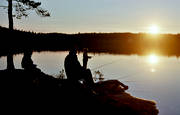 angling, angling, fishing, Landom lake, sunset