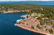 aerial photo, Angermanland, boat house, cabins, drone aerial, fishing village, installations, landscapes, Norrfällsviken, port, summer