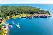 aerial photos, Angermanland, boat house, cabins, drone aerial, fishing village, installations, landscapes, naturreservat, Norrfällsviken, port, small-boat harbour, summer