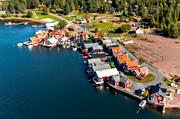 aerial photo, aerial pictures, Angermanland, boat house, cabins, drone aerial, fishing village, installations, Norrfällsviken, port, summer