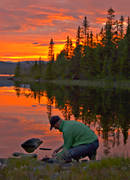 angling, angling, evening, fish cleaning, fishing, flyfishing, Leaf lake, mountain forest, mountain lake, peaceful, red, red, rensa fisk, röd himmel, sky, sunset, woodland