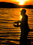 anglers, angling, backlight, dry fly, evening fishing, fishing, flyfishing, Great Lake, lake fishing, night fishing, sunset, swimfeeder