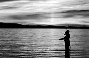 ambience, ambience pictures, angling, atmosphere, evening, evening fishing, fishing, flyfishing, Great Lake, red, sunset