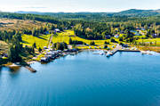 aerial photo, aerial pictures, Angermanland, Barstahamn, Barstaviken, boat house, cabins, drone aerial, fishing village, installations, landscapes, small-boat harbour, summer
