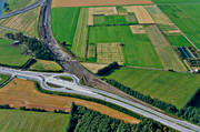 aerial photo, aerial pictures, autumn, drone aerial, road construction, rondell, roundabout, städer, Umeå, West Bothnia