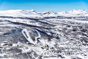 aerial photo, aerial pictures, drone aerial, flygfoton, journeys down, Klimpfjall, Lapland, samhällen, ski resort, ski slopes, winter