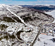 aerial photo, aerial pictures, Dearna, drone aerial, flygfoton, journey down, journeys down, Lapland, samhällen, ski resort, ski slopes, ski-slope, Tärnaby, winter