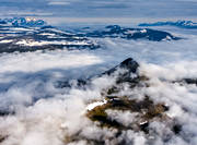 aerial photo, aerial pictures, cloud, drone aerial, fjällbilder, holy, landscapes, Lapland, mountain, mountain top, Sieidi, Slugga, summer, swedish mountains