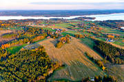 aerial photo, aerial photo, aerial photos, aerial photos, agriculture district, arable land, autumn, countryside, drone aerial, drönarbild, drönarfoto, farms, Jamtland, Lockne, Lockne lake, rundbalar, villages, Ångsta
